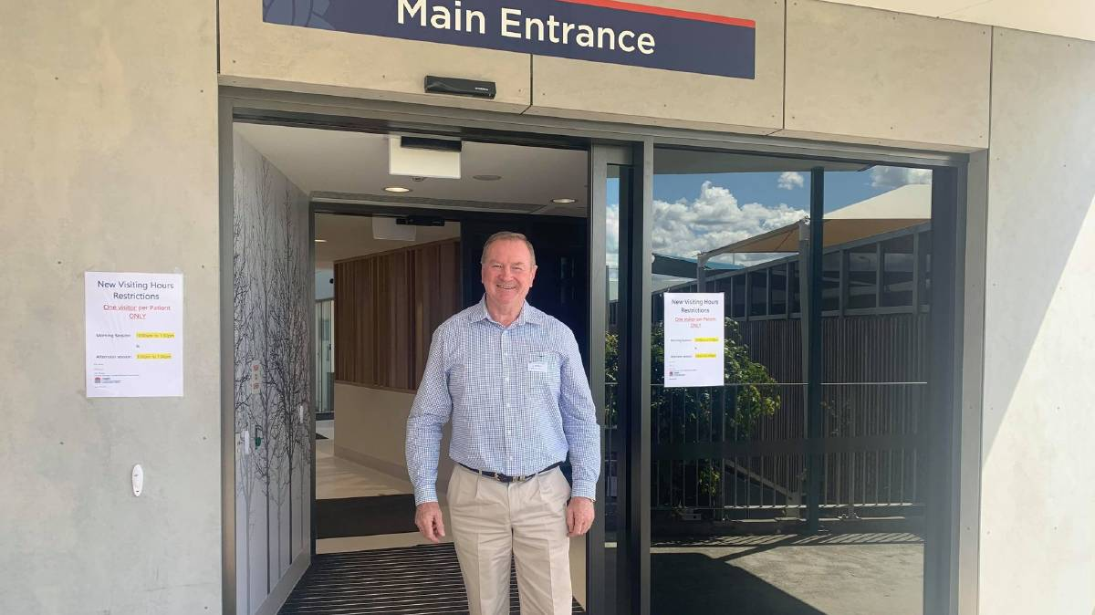 Stephen Bromhead outside the Manning Base Hospital's new front entrance. Photo supplied.