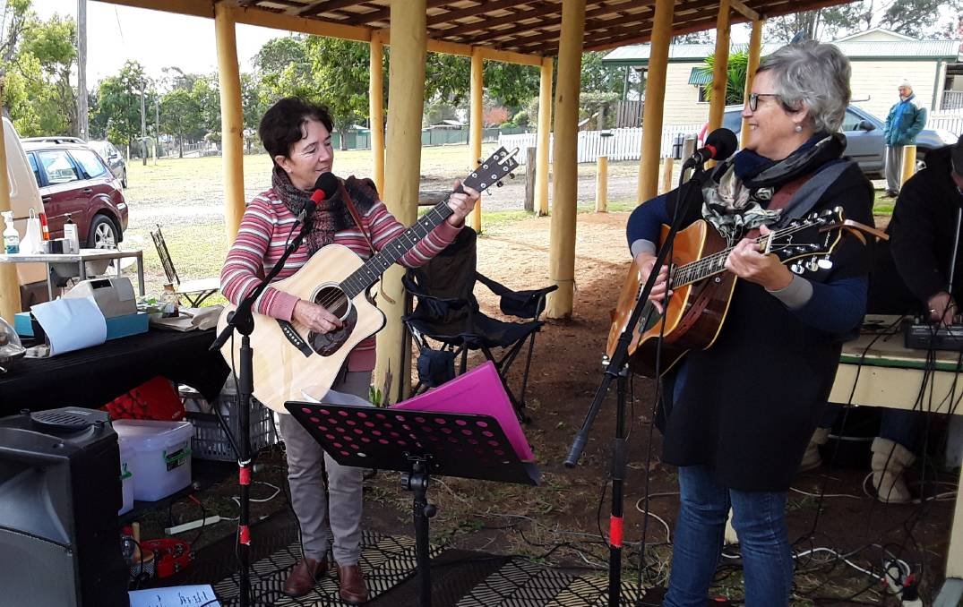 Local act: The Choir Girls, a regular act at the Wingham Farmers' Markets, will be competing in the Busker Muster competition.